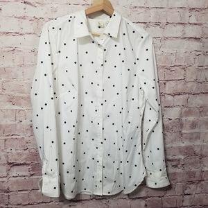 A. Moon polka dot button down shirt